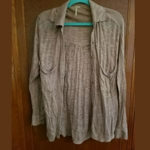 Free People Beach Tan Button Down Top Small